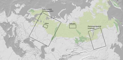 Karte zu den Forschungsprojekten von H. Piezonka