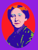 Johanna Mestorf in Blau auf Rot