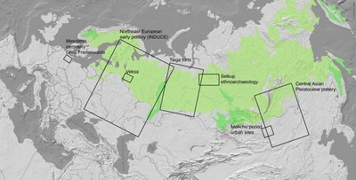Laufende Forschungen der Abteilung Anthropologische Archäologie in Eurasien. Grün: Taiga.