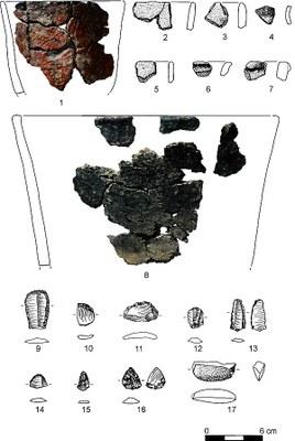Neolithische Funde aus einem Baumwurf (Tafel F. Jürgens)